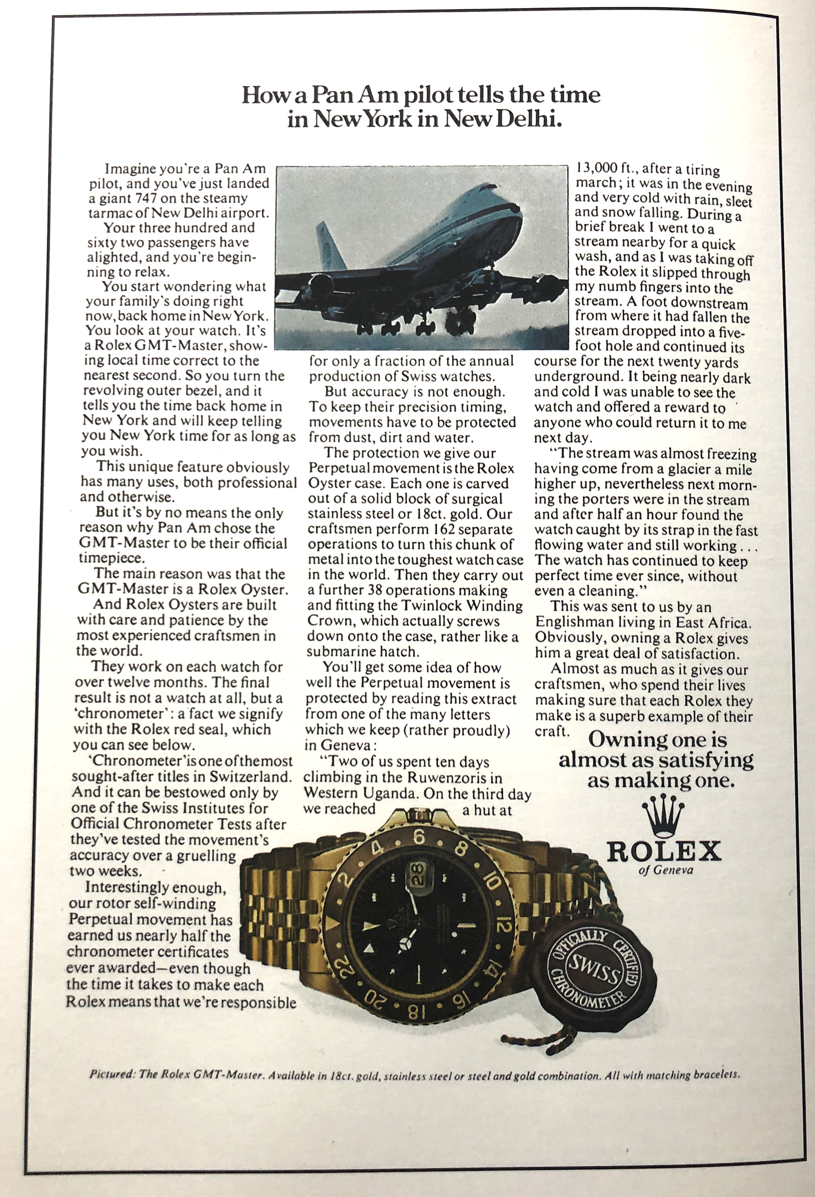 Ad featuring a 747 and a 1675